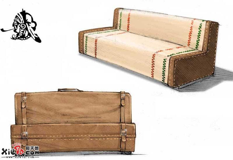 行李箱式沙发马克笔产品手绘效果图