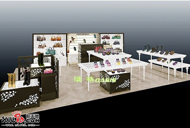 手绘包包效果图 箱包设计   精美女鞋箱包专卖店设计效果图